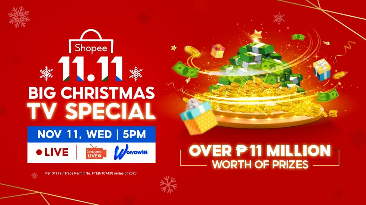 Shopee 11.11 Big Christmas TV Special will Give Away ₱11 Million Worth of Prizes