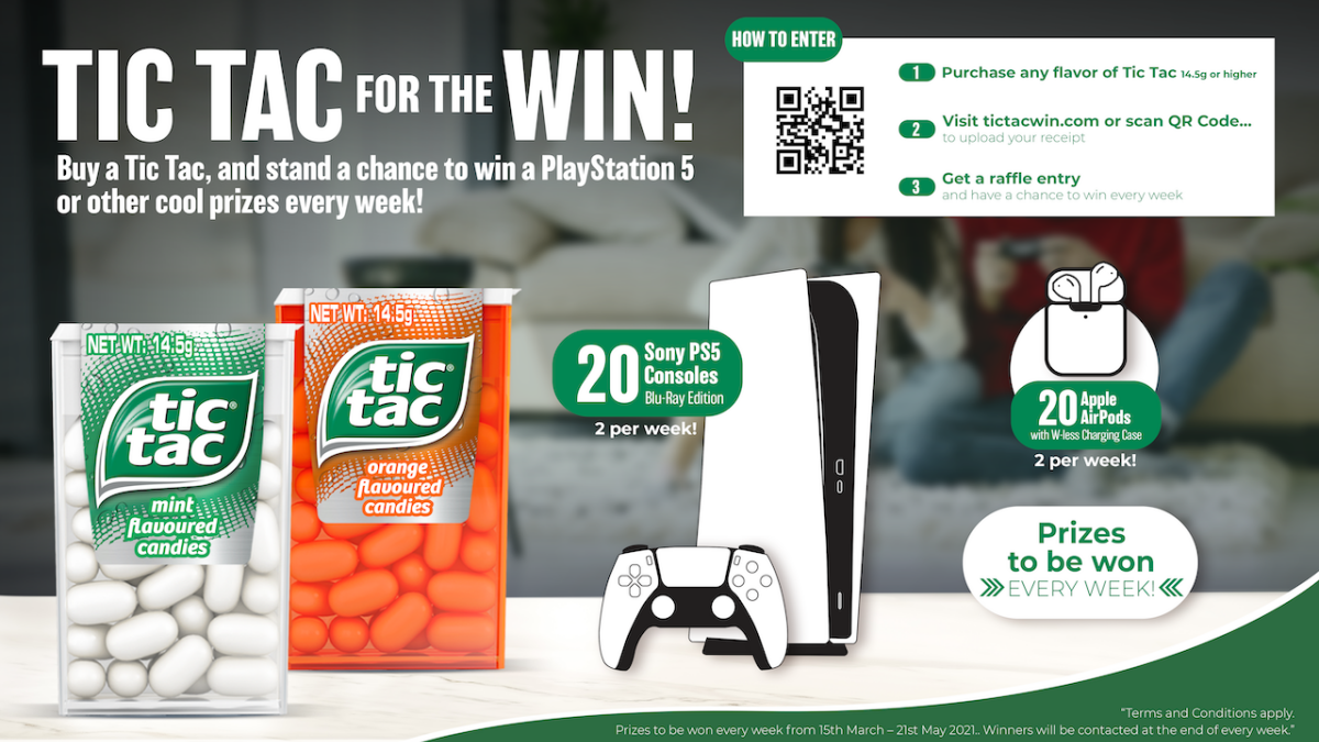 Enjoying a Tic Tac Scores You a Chance to Win a PS5, AirPods