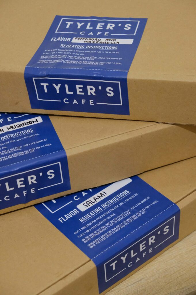 Tyler's Cafe Pizza boxes