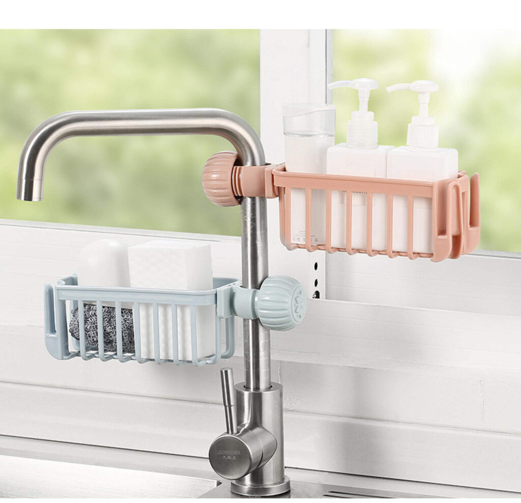 8 Storage Products and Organizers - Kitchen sink faucet shelf
