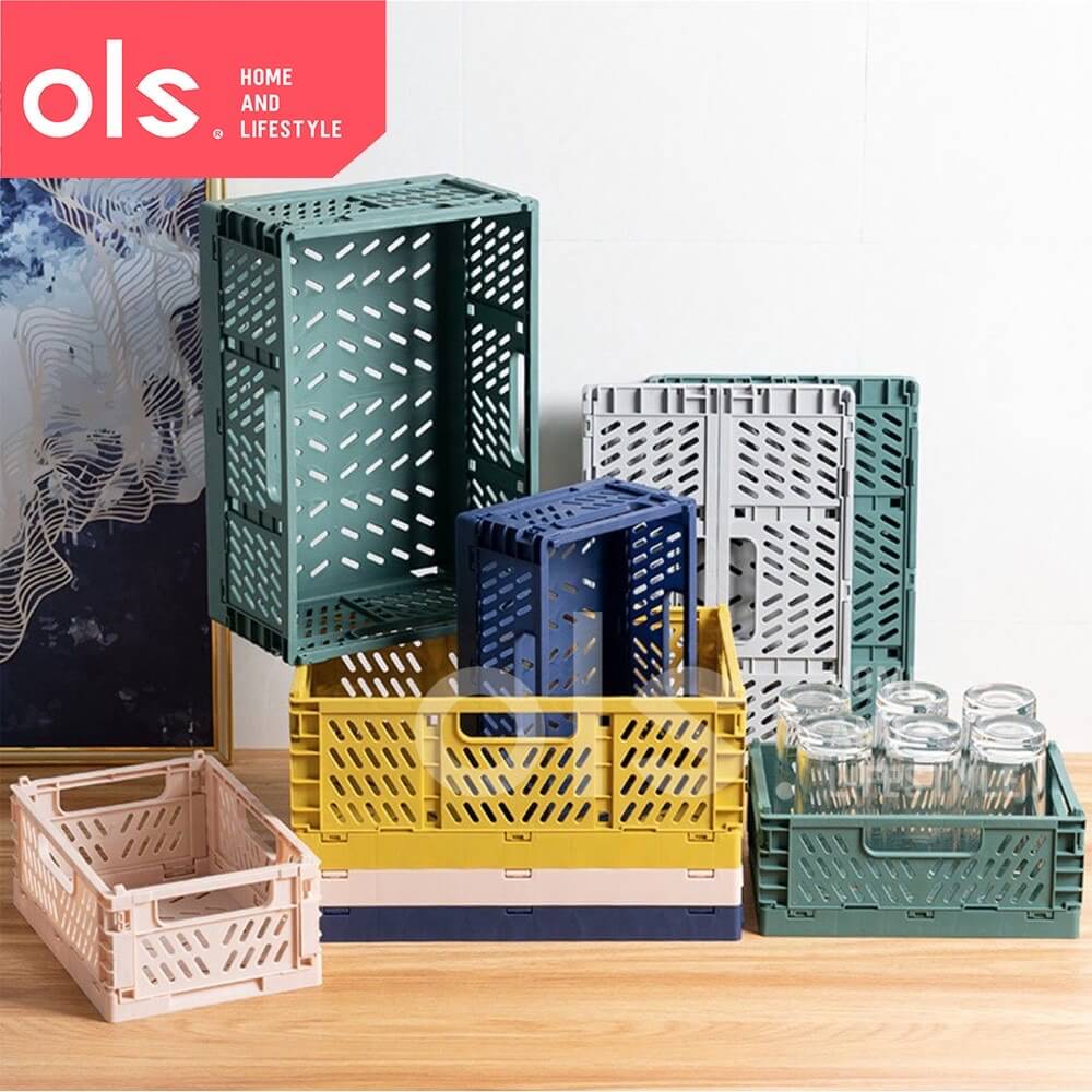 8 Storage Products and Organizers - OLS Foldable Stackable Storage Box Basket Bin Plastic Container Organizer with Handle Car Trunk
